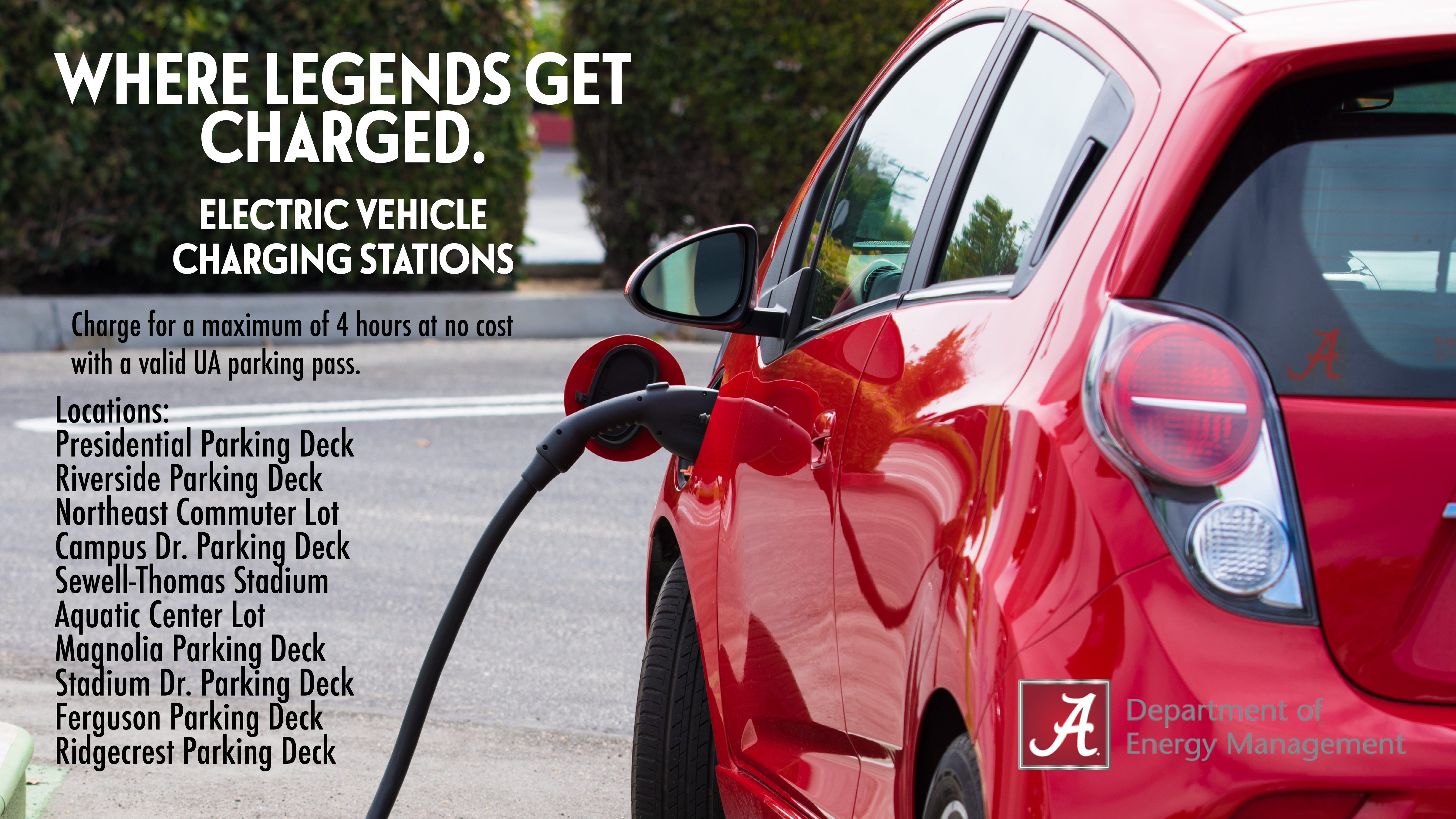 UA Parking Pass holders can find electric vehicle charging stations at multiple locations on campus